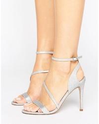 Sandalias de Tacón Plateadas de Asos