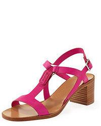 Sandalias de tacón rosa