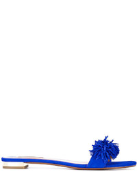 Sandalias planas de ante azules de Aquazzura