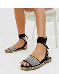Sandalias planas de ante con adornos negras de ASOS DESIGN