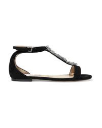 Sandalias planas de ante con adornos negras de Jimmy Choo