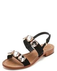Sandalias planas de ante con adornos negras de Kate Spade