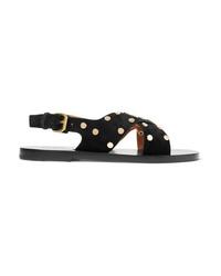 Sandalias planas de ante con tachuelas negras de Isabel Marant