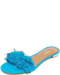 Sandalias planas de ante en turquesa