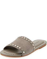 Sandalias planas de ante grises