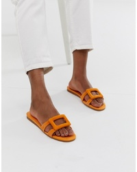 Sandalias planas de ante naranjas de Mango