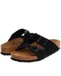 Sandalias planas de ante negras