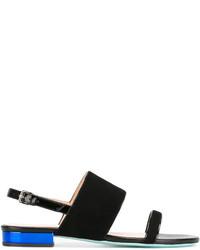 Sandalias planas de ante negras de Paul Smith