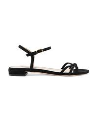 Sandalias planas de ante negras de Stuart Weitzman