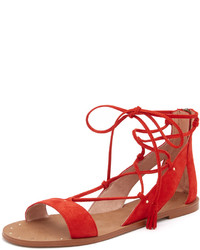 Sandalias planas de ante rojas