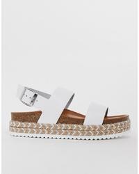 Sandalias planas de cuero blancas de Aldo