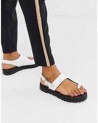 Sandalias planas de cuero blancas de ASOS DESIGN