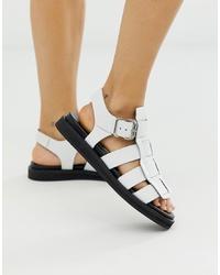 Sandalias planas de cuero blancas de Bronx