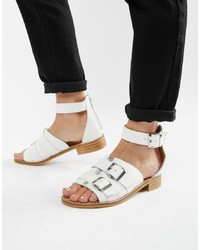 Sandalias planas de cuero blancas de DEPP