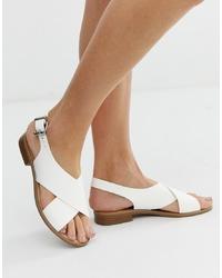 Sandalias planas de cuero blancas de Faith