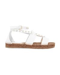 Sandalias planas de cuero blancas de Jimmy Choo