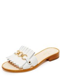 Sandalias planas de cuero blancas de Kate Spade