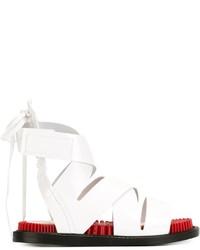 Sandalias planas de cuero blancas de Kenzo