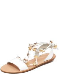 Sandalias planas de cuero blancas de Loeffler Randall