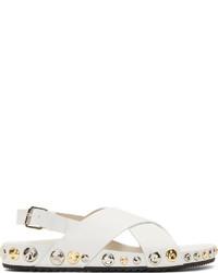Sandalias planas de cuero blancas de Marc Jacobs