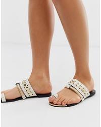 Sandalias planas de cuero blancas de River Island
