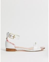 Sandalias planas de cuero blancas de Ted Baker