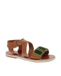 Sandalias planas de cuero burdeos de Asos