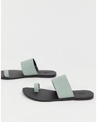 Sandalias planas de cuero celestes de ASOS DESIGN