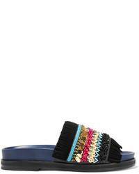 Sandalias planas de cuero con adornos azul marino de Tory Burch