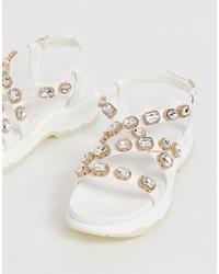 Sandalias planas de cuero con adornos blancas de ASOS DESIGN
