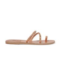 Sandalias planas de cuero con adornos marrón claro de Ancient Greek Sandals