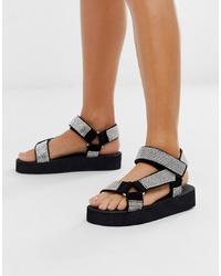 Sandalias planas de cuero con adornos negras de ASOS DESIGN