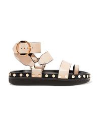 Sandalias planas de cuero con tachuelas en beige de Isabel Marant