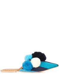 Sandalias planas de cuero de rayas horizontales en verde azulado de Figue
