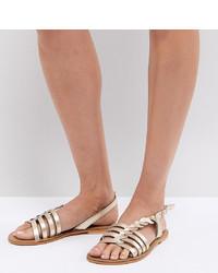 Sandalias planas de cuero doradas de ASOS DESIGN