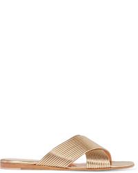 Sandalias planas de cuero doradas de Gianvito Rossi