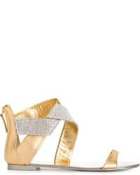 Sandalias planas de cuero doradas de Giuseppe Zanotti Design