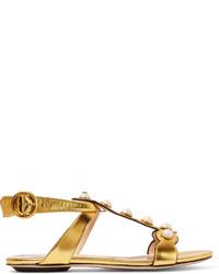 Sandalias planas de cuero doradas de Gucci