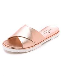 Sandalias planas de cuero doradas de Kate Spade