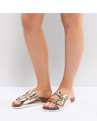 Sandalias planas de cuero doradas de Park Lane