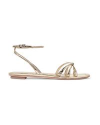 Sandalias planas de cuero doradas de Prada