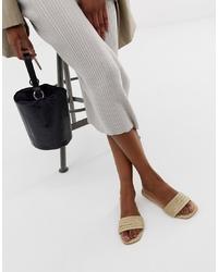 Sandalias planas de cuero en beige de ASOS DESIGN