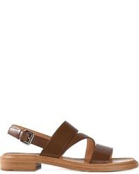 Sandalias planas de cuero en marrón oscuro de Church's
