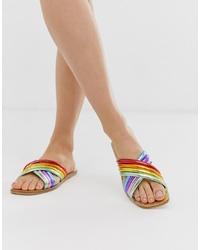 Sandalias planas de cuero en multicolor de ASOS DESIGN