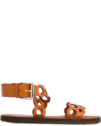 Sandalias planas de cuero en tabaco de Stella McCartney