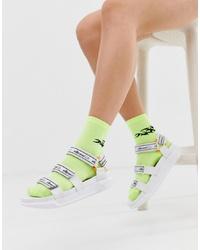 Sandalias planas de cuero estampadas blancas de Ellesse