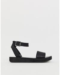 Sandalias planas de cuero gruesas negras de ASOS DESIGN