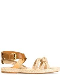 Sandalias planas de cuero marrón claro de Etoile Isabel Marant