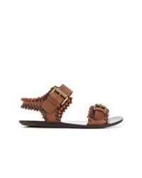 Sandalias planas de cuero marrónes de See by Chloe