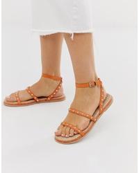 Sandalias planas de cuero naranjas de ASOS DESIGN